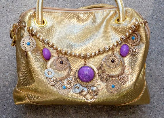 Handbag purse cosmetic bag gold and bold glam by creativedogstwo, $45.00