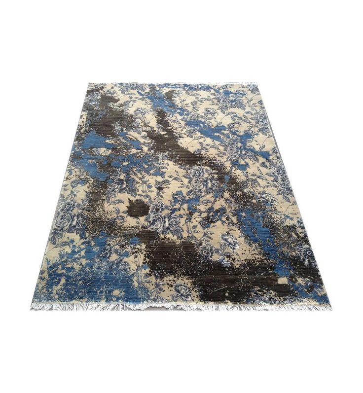 Голубой с бежевым ковер Джайпур. Шерсть с натуральным шелком, ручная работа. Экологичный, качественный, элитный, винтажный и кла