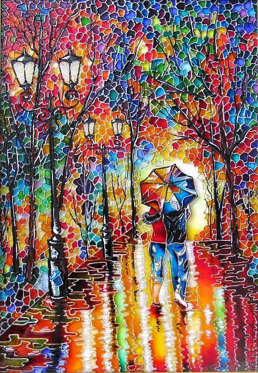 """""""Двое под одним зонтом"""" Витражная роспись стекла - дождь,парк,пара,влюбленная пара"""
