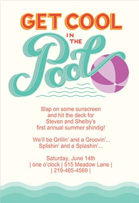 """Pool party"" printable invitation. Customize, add text and photos. print for free!"