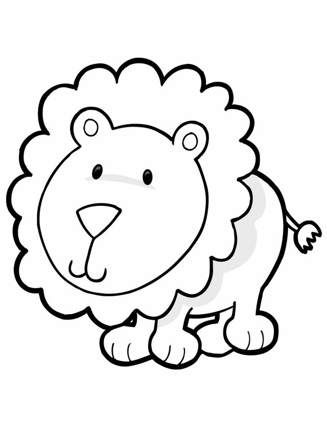animal coloring pages for kids lion - Cartoon Drawings For Kids Free