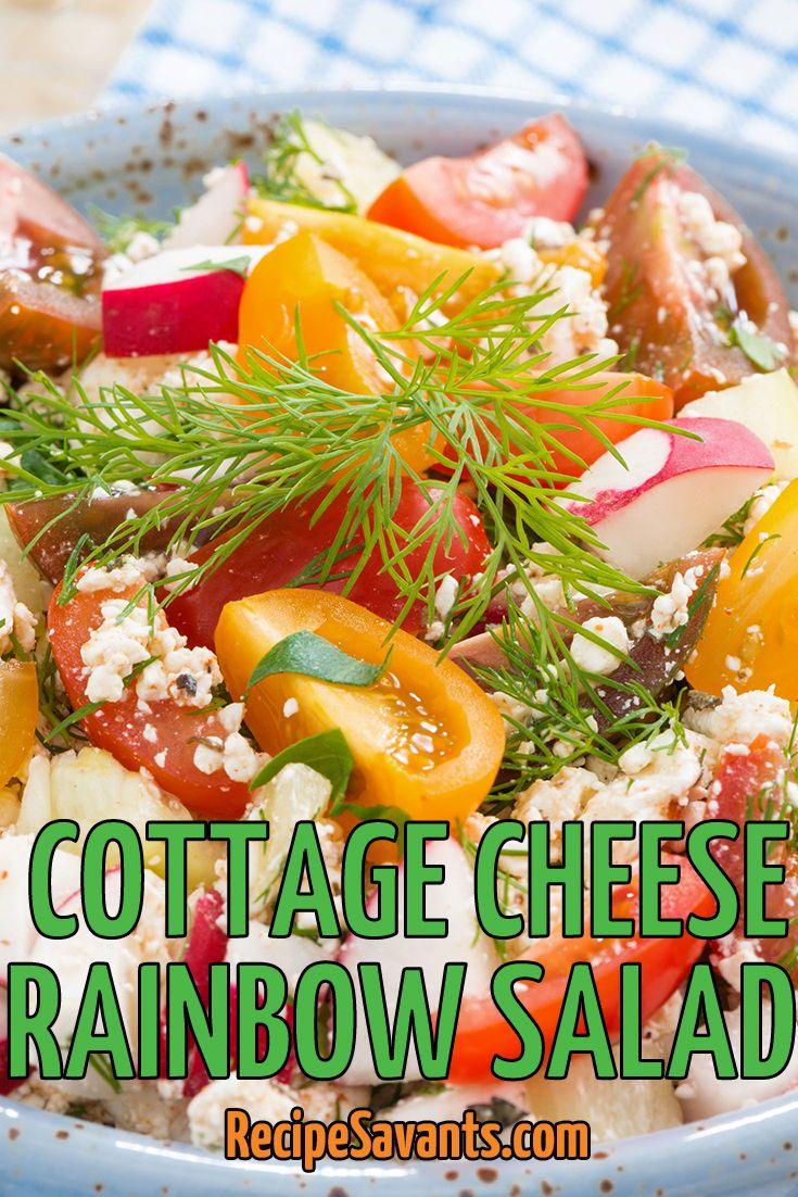 I Conquered This Recipe Cottage Cheese Rainbow Salad Recipe Pear And Blue Cheese Salad Recipes Vegetarian Vegan Recipes