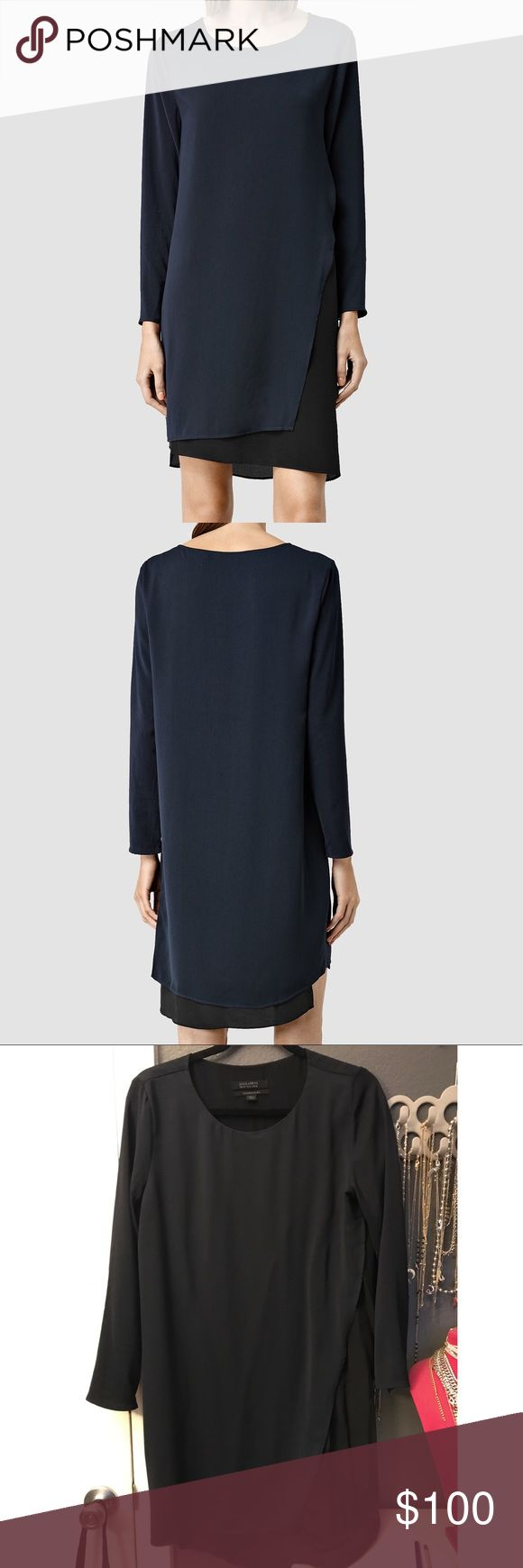 AllSaints Dress Size US 6. Long sleeve. All saints. Navy blue & blk. Shows small signs of wear. Nothing drastic All Saints Dresses Midi