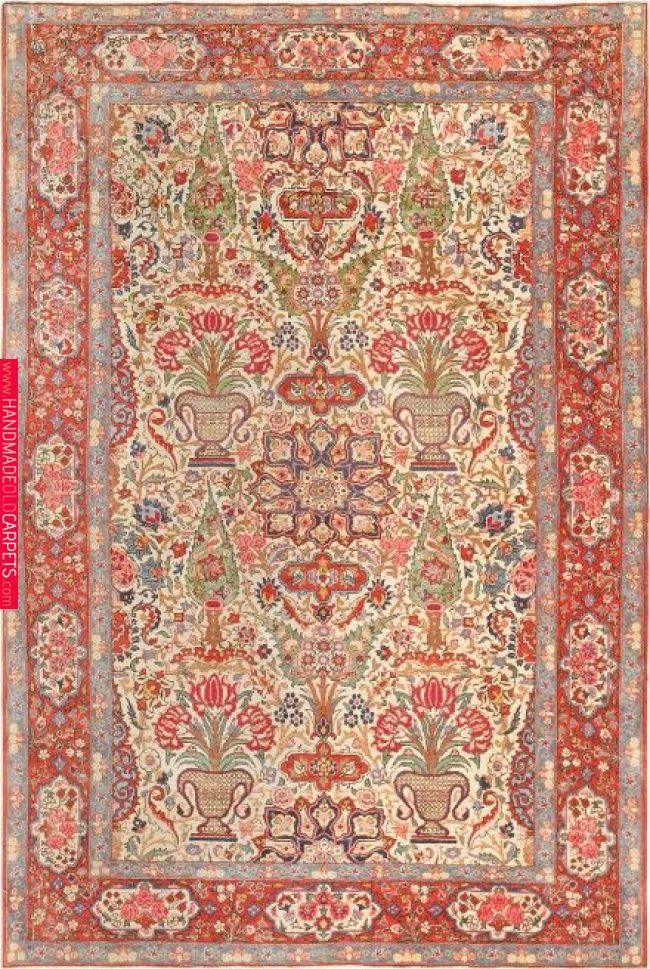Antique Persian Kashan Carpet Rugs On