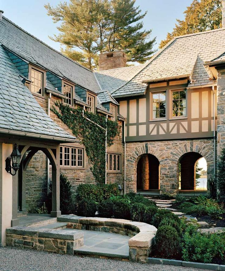Douglas VanderHorn Architects, Waterfront French Normandy Style, New  Canaan, CT.example of tudor trim for addition