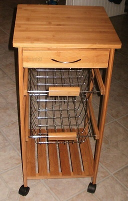 New Rolling Vegetable Cart with 2 Bins 1 Drawer 1 Shelf ...