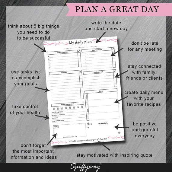 DAILY PLANNER PRINTABLE  Day On One Page  Digital by Spiffyway https://www.etsy.com/listing/245063627/daily-planner-printable-day-on-one-page?ref=shop_home_active_3