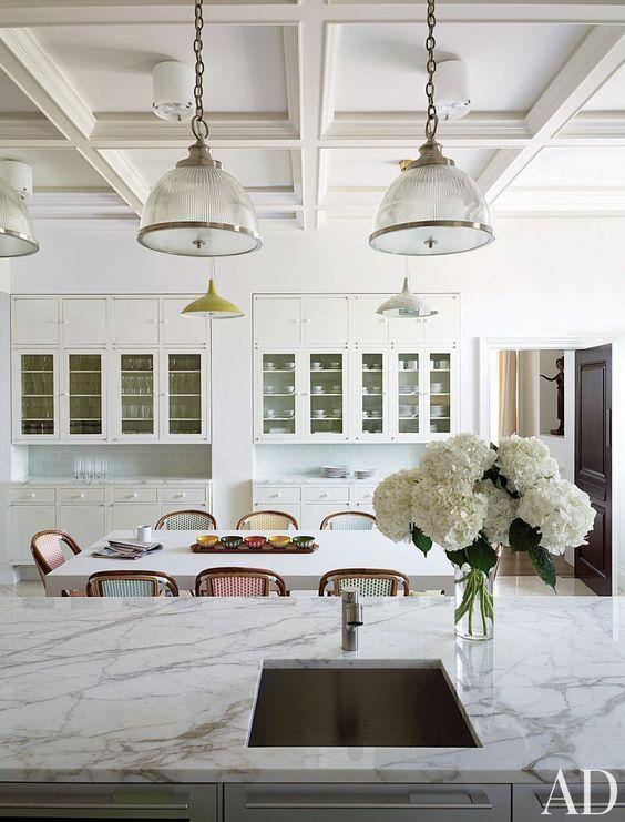 white lighting shades in contemporary modern kitchen