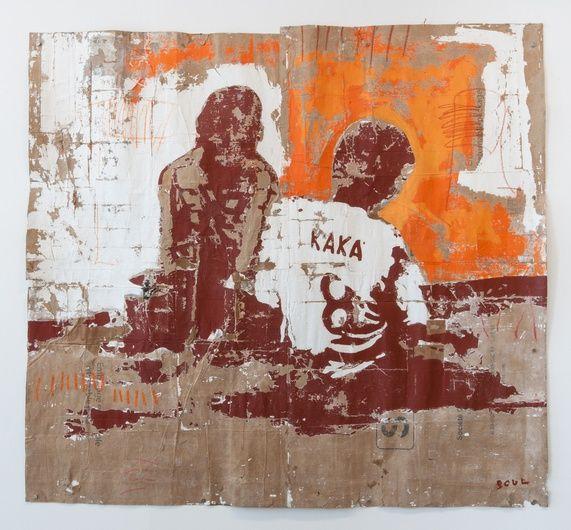 Armand Boua, Vivre dans les Rues d'Abidjan, 2014, Tar and acrylic on cardboard