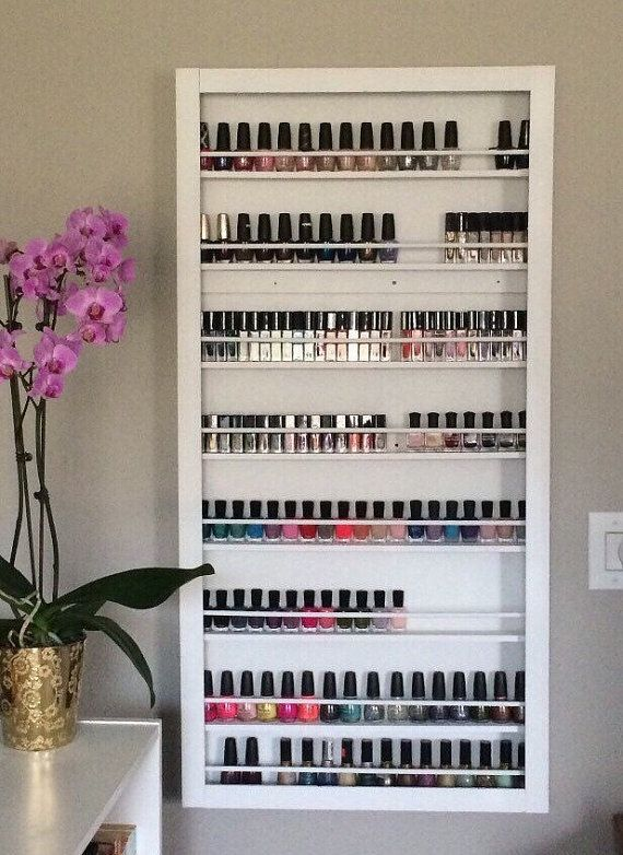 Personalized CUSTOM Wall Mounted Nail Polish Rack Essential by pinkofperfect | Etsy