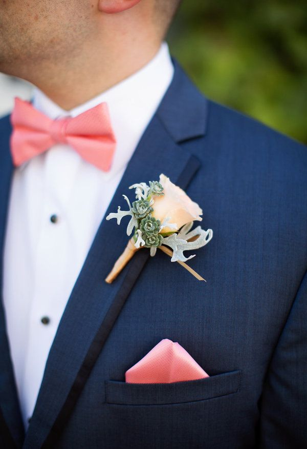 Miniature succulents, coral bow tie, colorful groom // Megan Reeves Photography
