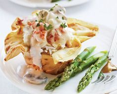 Lobster Thermidor in Parmesan Phyllo Baskets