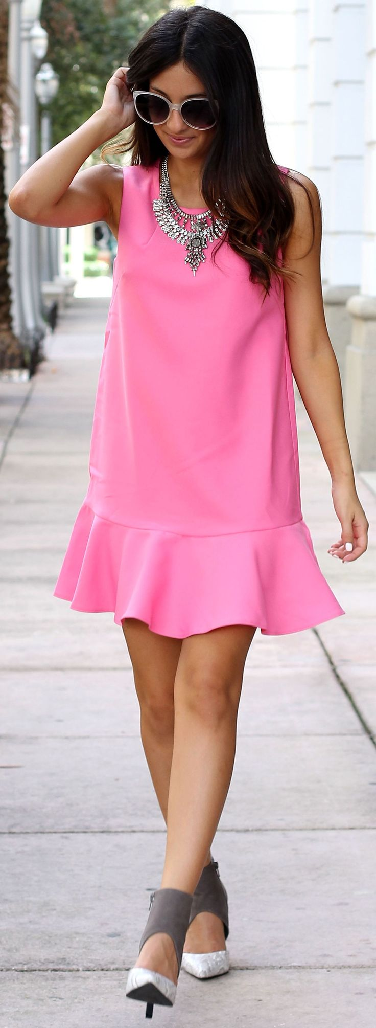 The Material Girl Grey And White Cutout Heels Pretty Ruffle Hem Little Pink Dress Fall Inspo #Fashionistas