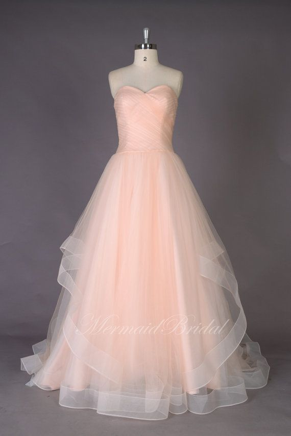 Romantic A line Simple Blush Wedding dresses Wedding gowns, blush prom dress, prom gowns with sweetheat neckline on Etsy, $324.80 AUD