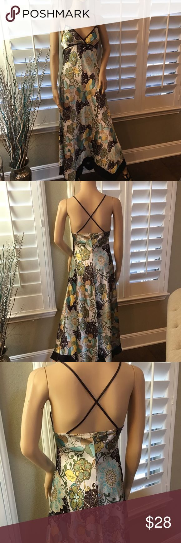 Darling summer dress! Turquoise & Brown mix. Sz 5. Cute summer satin like criss cross summer dress. Sz 5 Junior. City Triangles Dresses Maxi