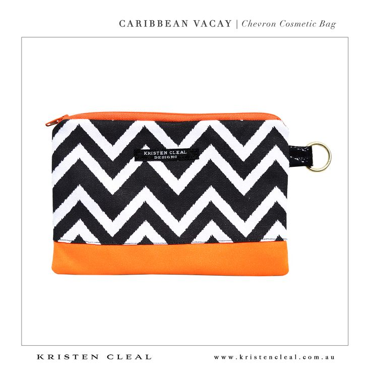 Chevron Cosmetic Bag by Kristen Cleal Designs  Caribbean Vacay 2014 Collection