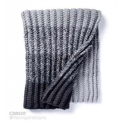 Free Easy Knit Blanket Pattern | Caron Ombre Ridge Knit Blanket | Caron One Pound
