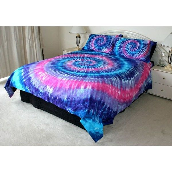 PINK PURPLE BLUE TIE DYE QUEEN QUILT COVER SET 500TC LUX tye dyed... ❤ liked on Polyvore featuring home, bed & bath, bedding, tie dyed bedding, queen bedding, pink blue bedding, blue queen bedding and queen duvet