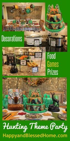 Hunting Theme Party with ideas for hunting theme parties, birthday parties- featuring deer hunting, camouflage, Duck Dynasty, food and party decorations