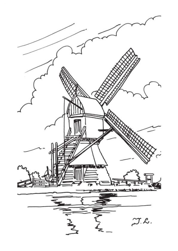 coloring page Windmills clipart