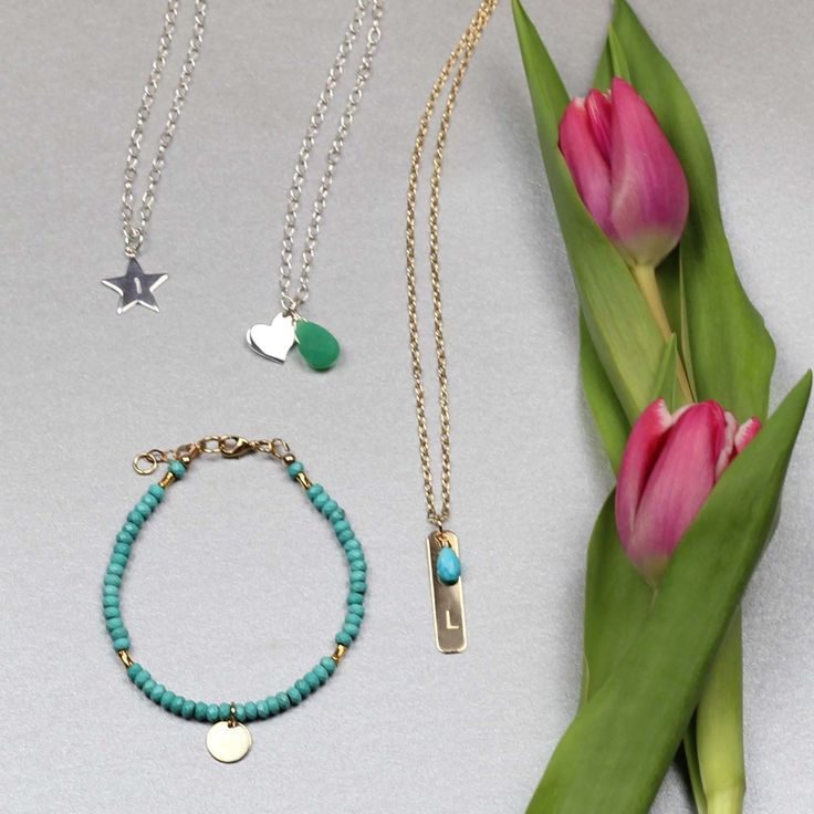 Personalised gemstone jewellery. Chose your initial, charm and gemstone.