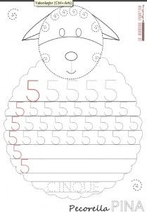 sheep number 5 trace worksheet
