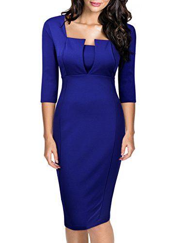 Miusol Women's Business Tunic 3/4 Sleeve Slimming Bodycon Pencil Dress
