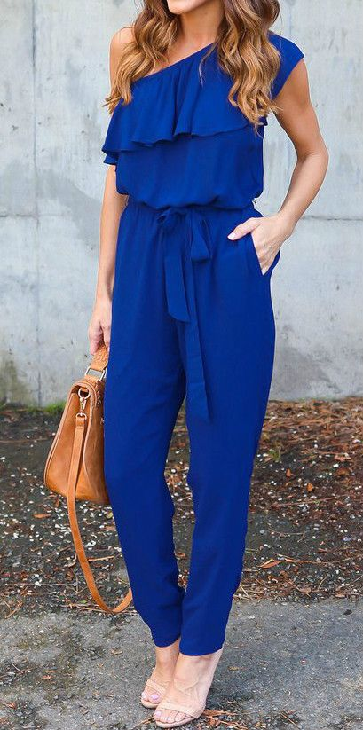 One Shoulder Ruffle Jumpsuit with Belt