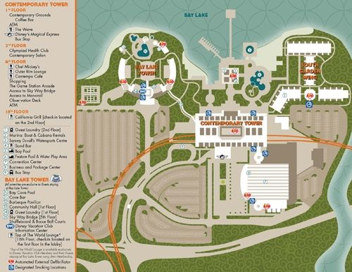 Bay Lake Tower at Disney's Contemporary Resort Map