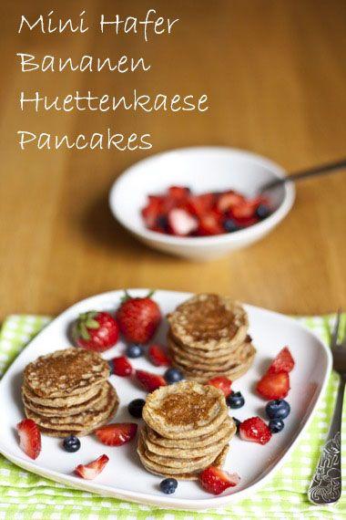 Mini Hafer Bananen Hüttenkäse Pancakes | Mein Kleiner Gourmet