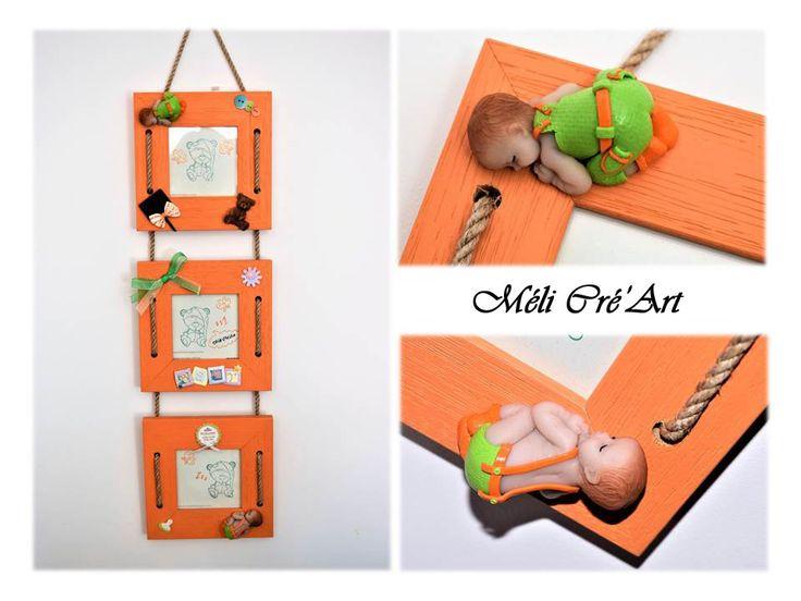 Triple cadre photos bébé enfant orange et vert pâte polymère fimo : Décorations murales par melicreart