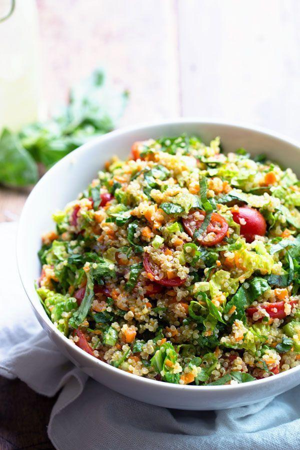 Herbed Quinoa Garden Veggie Salad tossed with a Lemon Herb Vinaigrette (v, gf)