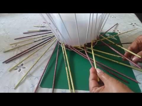 Красивый узор для корзиночки, газетное плетение - YouTube