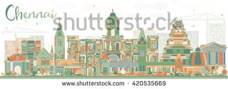 Abstract Chennai Skyline with Color Landmarks. Vector Illustration. Business Travel and Tourism Concept with Historic Buildings. Image for Presentation Banner Placard and Web Site.