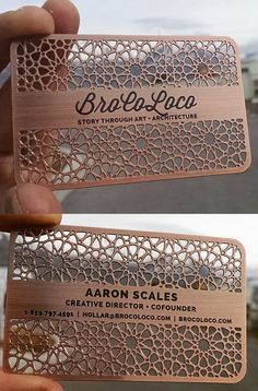 Intricate Laser Cut And Etched Metal Business Card For An Architect