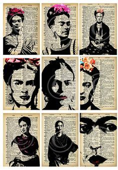 Frida Kahlo ATCs..... A4 digital download collage sheet...plus gift
