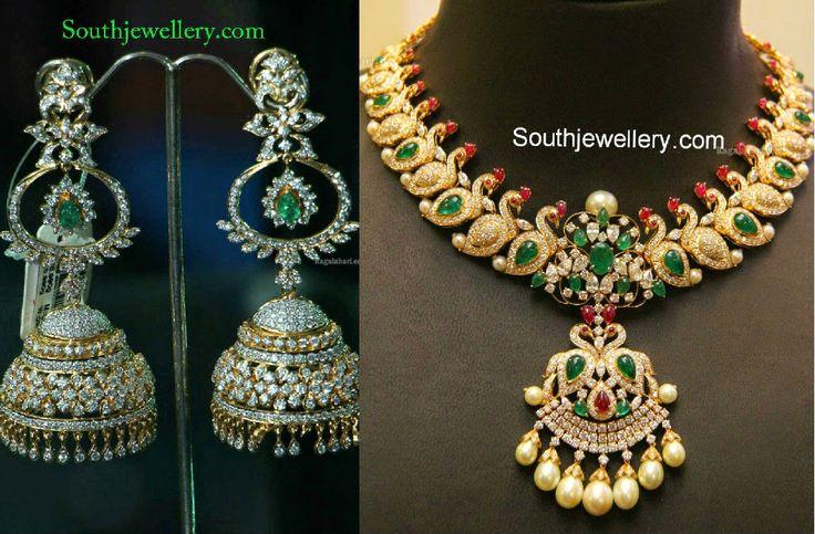 Lakshmi Manchu in Diamond Haram and Jhumkas ~ Latest Jewellery Designs