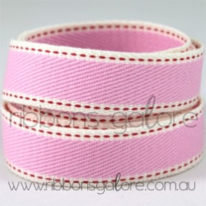 cotton stitched denim ribbon   pink (20mm wide) [per metre] - $5.50 : Ribbons Galore, your online store for the best ribbons #ribbonsgalore #ribbons