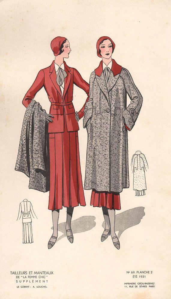 French Original Vintage 1970s Fashion Design Illustration Lithograph Beige Suit Dress In 2020 Vintage Fashion 1930s Illustration Fashion Design 1930s Fashion