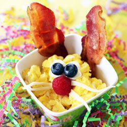 Scrambled Egg & Bacon Bunnies for Easter Breakfast or Brunch.: Easter Breakfast, Scrambled Eggs, Food, Breakfast Idea, Easter Bunny, Easter Ideas, Kid