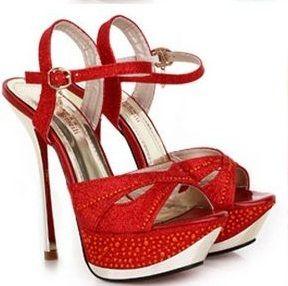 Sandália Salto Alto Plataforma Vermelha / jahsaude