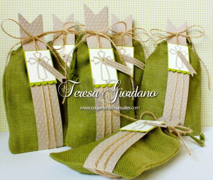 Bolsas de yute de Comunion www.coqueteriasmanuales.com