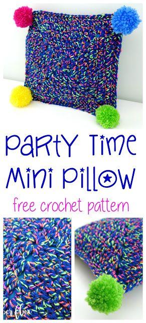 Party Time Mini Pillow, free crochet pattern + full video tutorial on Fiber Flux!