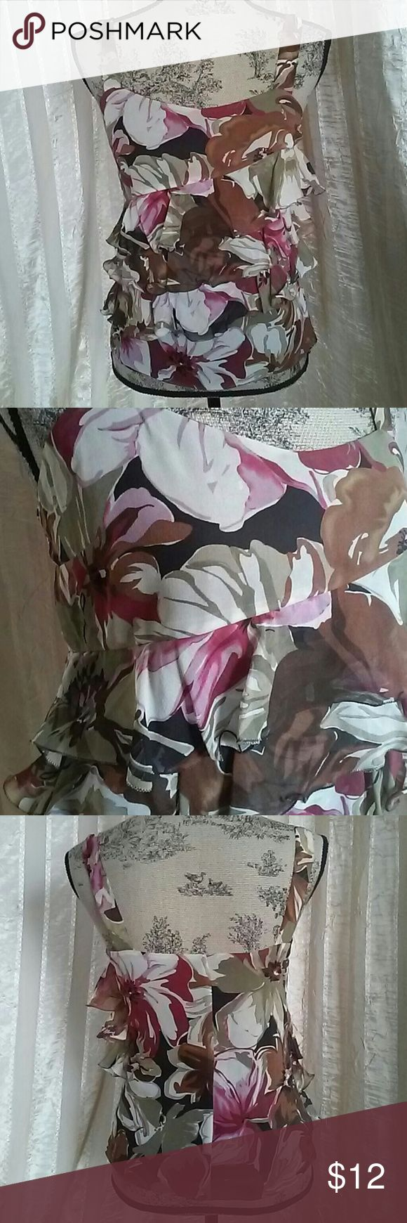 """Express Women's Silk Floral Tank Blouse Top Women's Silk top By Express Size XS Measures about 17"""" across chest  About 23"""" in length  Small hole in ruffle by zipper, it got stuck one time Not noticeable due to floral design Overall in great pre-owned condition Express Tops"""