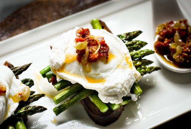 Asparagus and Poached Egg on Toast with Warm Bacon Vinaigrette