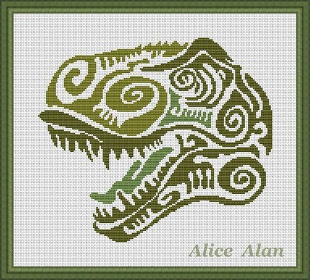 Cross Stitch Pattern Head Dinosaur (Tyrannosaurus Rex) texture Counted Cross Stitch Pattern/Instant Download Epattern PDF File