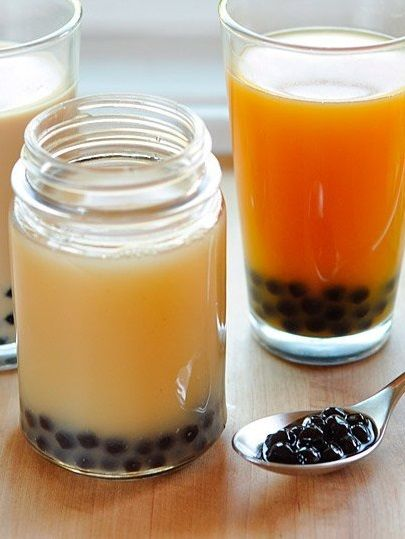 BUBBLE TEA & BOBA TAPIOCA PEARLS ~~~ most think of this '80s taiwanese invention as being synonymous with boba tapioca pearls, but originally it was just a cold milk tea that was shaken until frothy. while sometimes boba were added, basil seeds or cubes of jelly were also commonplace. recipe gateway: 5star 411 info at this post's link + http://weekofmenus.blogspot.com/2014/05/boba-tea-drinking-break-or-breaking-for.html [101] [Taiwan] [thekitchn] [weekofmenus]