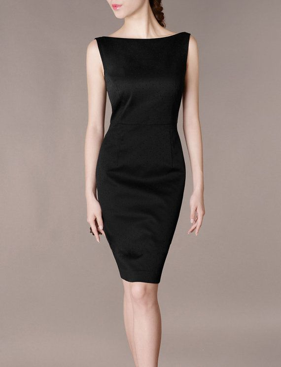 Walking Through The Front Door Seeing Your Black Dress Part - 25: Formal Concert Black Dress Elegant Slim Boat Neck By Chieflady, $120.00