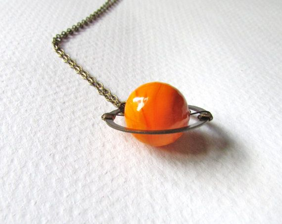 Planet Saturn Necklace Solar System on Brass Chain by aptoArt