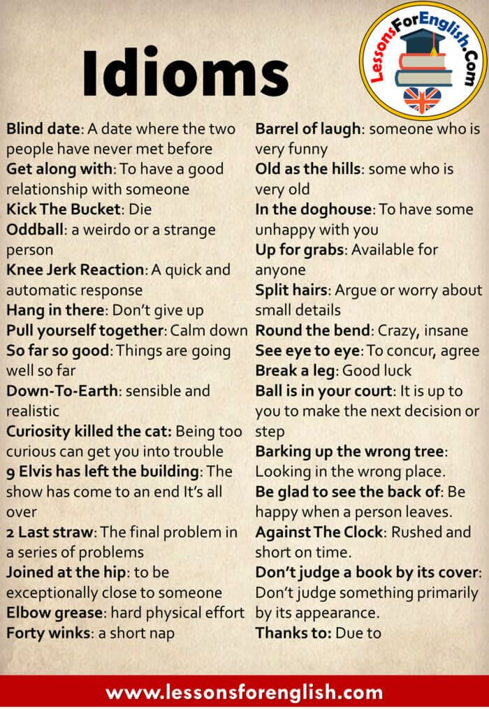 English Idioms List And Meanings Blind Date A Date Where The Two People Have Never Met Before Ge English Vocabulary Words English Words English Phrases Idioms